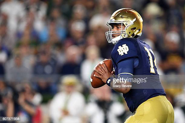 DeShone Kizer of the Notre Dame Fighting Irish drops back to pass during the second half of a game against the Michigan State Spartans at Notre Dame...