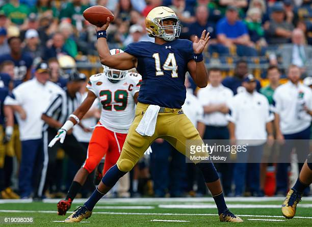 DeShone Kizer of the Notre Dame Fighting Irish drops back to pass during the game against the Miami Hurricanes at Notre Dame Stadium on October 29...