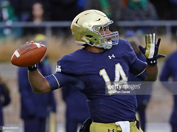 DeShone Kizer of the Notre Dame Fighting Irish passes against the Virginia Tech Hokies at Notre Dame Stadium on November 19 2016 in South Bend Indiana