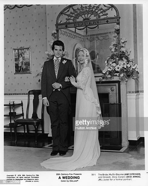 Desi Arnaz and Amy Stryker pose for a formal wedding portrait for the 20th Century Fox movie 'A Wedding' circa 1978