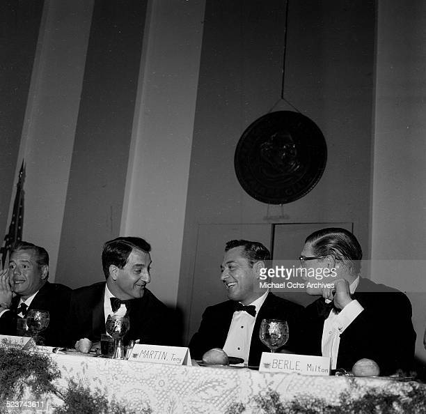 Desi Arnaz, Danny Thomas, Tony Martin and Milton Berle attend an event in Los Angeles,CA.