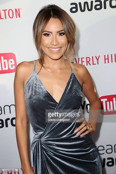 Desi Perkins arrives at the 2016 Streamy Awards at The Beverly Hilton Hotel on October 4 2016 in Beverly Hills California