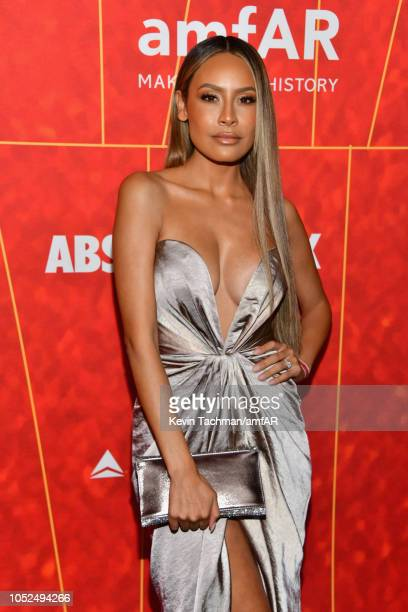 Desi Perkins attends amfAR Los Angeles 2018 at Wallis Annenberg Center for the Performing Arts on October 18 2018 in Beverly Hills California