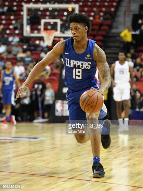 Desi Rodriguez of the Los Angeles Clippers brings the ball up the court against the Golden State Warriors during the 2018 NBA Summer League at the...