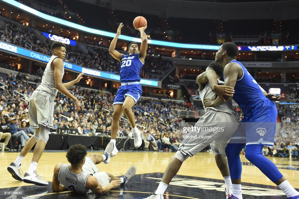 Desi Rodriguez #20 of the Seton Hall Pirates drives to the basket during a college basketball game against the Georgetown Hoyas at Capital One Arena on February 10, 2018 in Washington, DC.