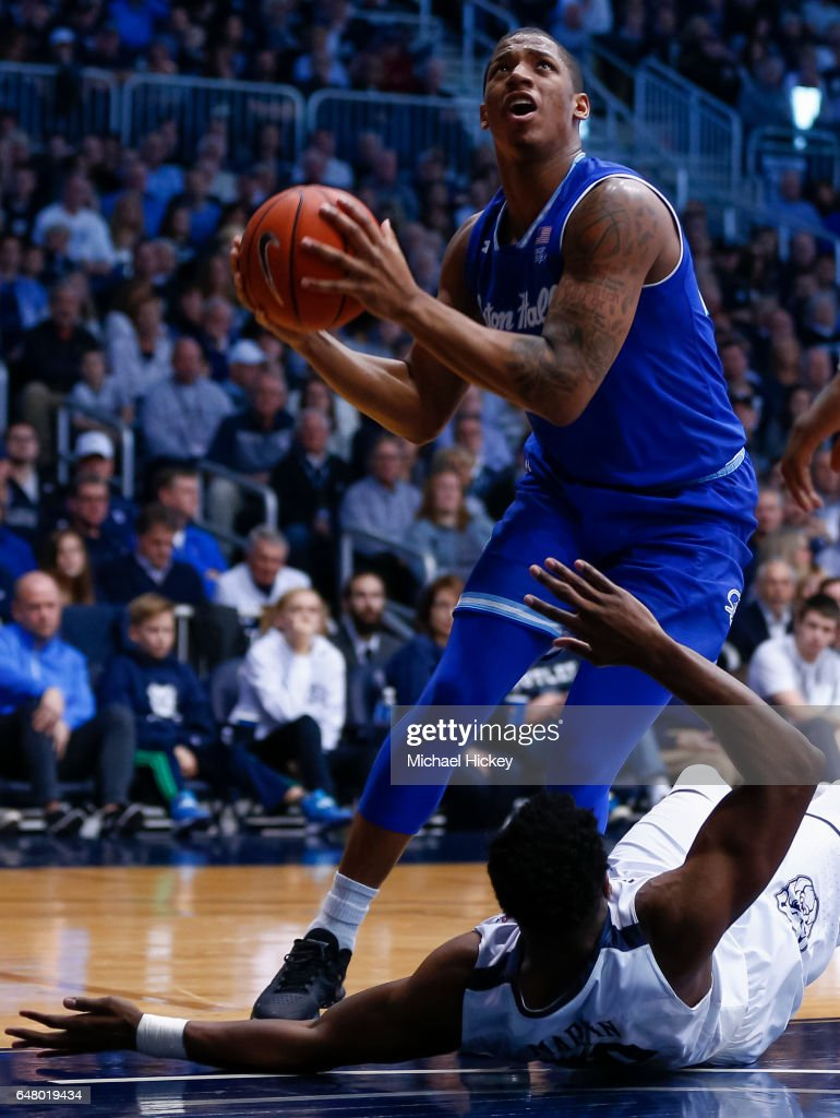 Desi Rodriguez #20 of the Seton Hall Pirates shoots the ball as Kelan Martin #30 of the Butler Bulldogs falls at Hinkle Fieldhouse on March 4, 2017 in Indianapolis, Indiana.