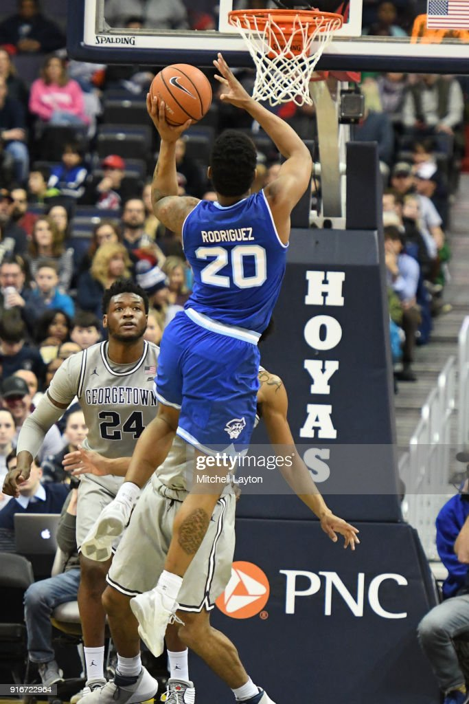 Desi Rodriguez #20 of the Seton Hall Pirates takes a shot during a college basketball game against the Georgetown Hoyas at Capital One Arena on February 10, 2018 in Washington, DC.