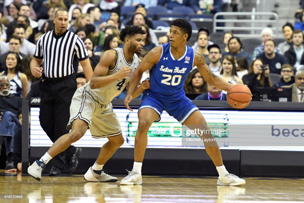 Desi Rodriguez #20 of the Seton Hall Pirates tries to get around Jagan Mosely #4 of the Georgetown Hoyas during a college basketball game at Capital One on February 10, 2018 in Washington, DC.