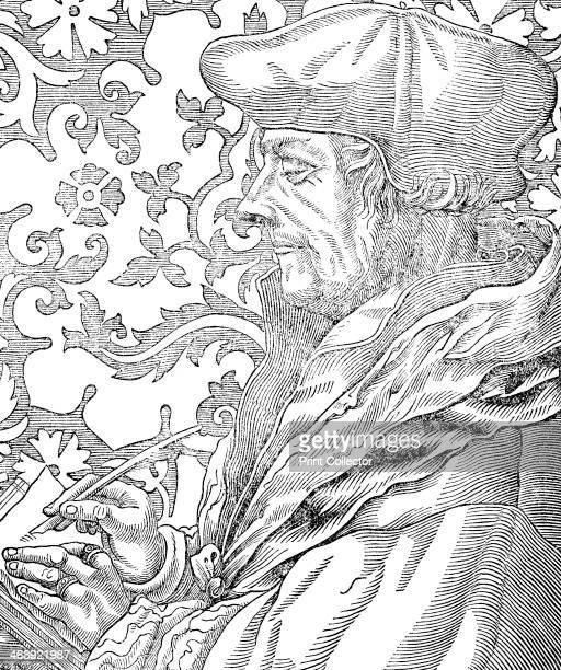 Desiderus Erasmus 15th16th century Dutch humanist and scholar 19th century Erasmus writing with a quill pen