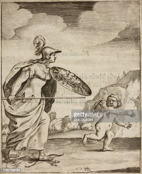 Desidia Amoris altrix Cupid escaping from Pallas helmet and shield engraving from Emblemata Cum Privilegijs by Paolo Maccio published by Clemente...