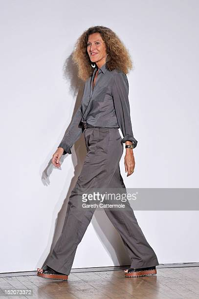 Desigenr Nicole Farhi walks the catwalk by Nicole Farhi on day 3 of London Fashion Week Spring/Summer 2013 at RIBA on September 16 2012 in London...