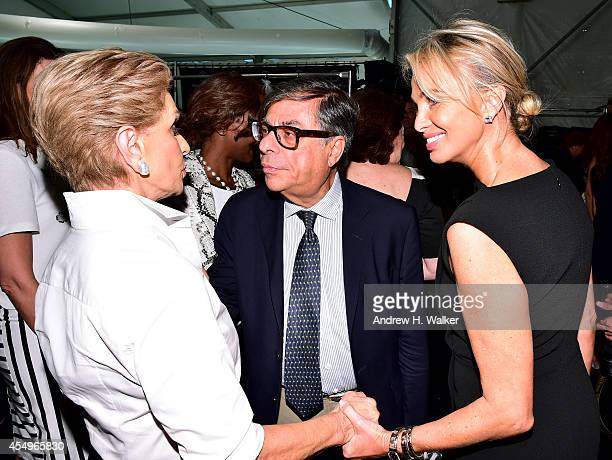 Desiger Carolina Herrera, Vanity Fair contributing editor Bob Colacello and Director of Appolonia Associates Corinna zu Sayn-Wittgenstein pose...