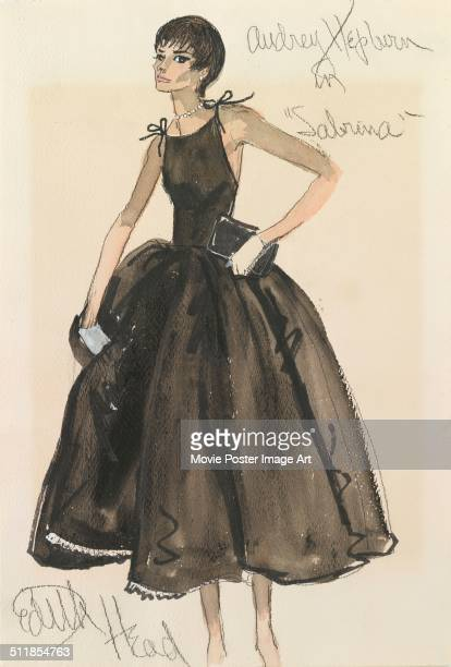 A design by American costume designer Edith Head for Audrey Hepburn's character in Billy Wilder's 1954 comedy 'Sabrina'