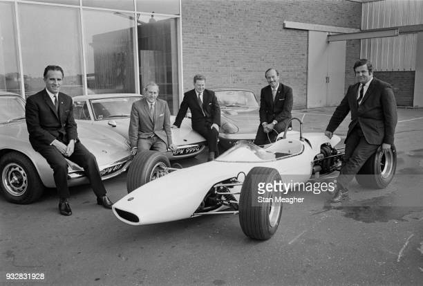 Design engineer inventor and builder in the automotive industry and founder of 'Lotus Cars' Colin Chapman with his team UK 27th September 1968