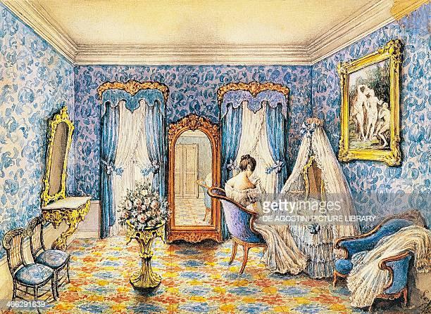 Design for a boudoir watercolour by Leger France 19th century