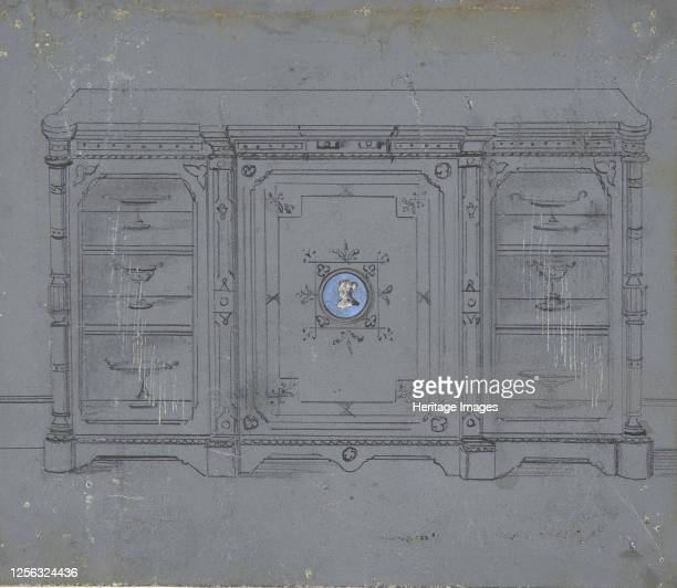 Design for a Cabinet witha Porcelain Plaque on the Center Panel 19th century Artist Anon