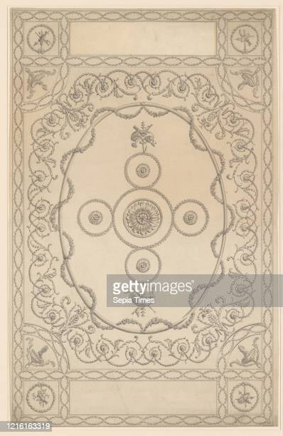 Design for a Ceiling an Oblong with an Oval Center 174396 Pen and wash sheet 13 3/8 x 21 5/8 in Sir William Chambers British Goteborg 17231796 London