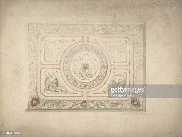 Design for a Ceiling with Lion and Lioness 19th century Artist Anon