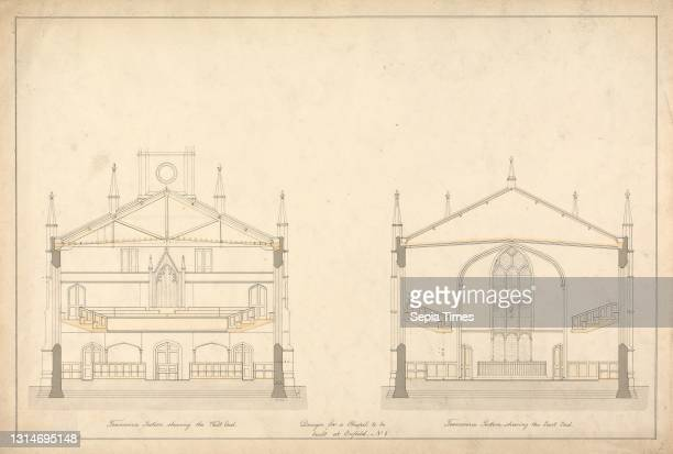 Design for a Chapel at Enfield: Transverse Sections of the East and West End, Lewis Vulliamy, 1791–1871, British, undated, Pen and black ink with...