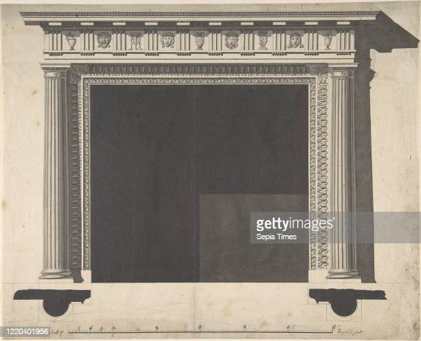 Design for a Chimneypiece for the Saloon Milton Park Northamptonshire 177076 Pen and ink sheet 11 1/4 x 14 in Sir William Chambers British Goteborg...
