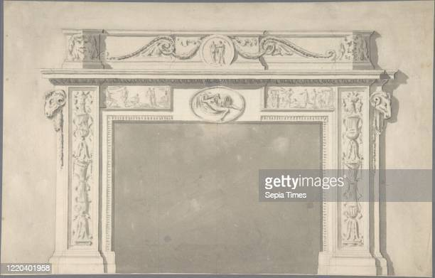 Design for a Classical Chimneypiece with Rams Heads and Leda and the Swan 17451800 Pen ink wash Sir William Chambers British Goteborg 17231796 London