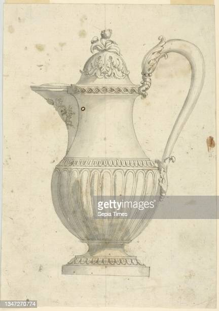 Design for a Coffeepot, Pen and brown ink, brush and gray wash, graphite on paper, Intended to be executed in metal. Shown in profile with handle at...