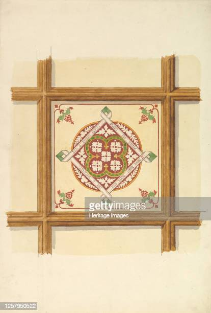 Design for a Coffered and Painted Ceiling in Rust and Olive Green, with a Quatrefoil Motif, 19th century. Artist John Gregory Crace.