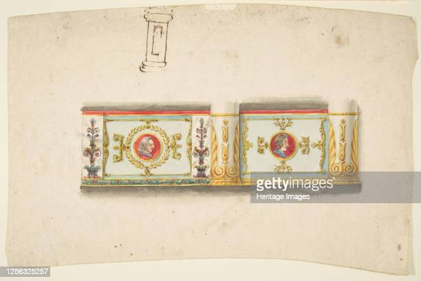 Design for a Decorative Wall Panel with Profile Portraits and a Study for a Column 19th century Artist Anon