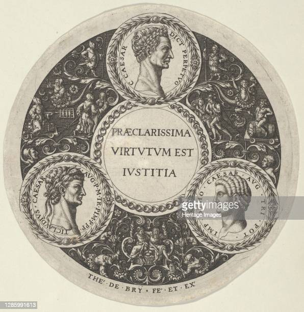 Design for a Dish with Portraits of the Roman Emperors Caesar, Claudius, and Otho, circa 1588. Artist Theodore de Bry.