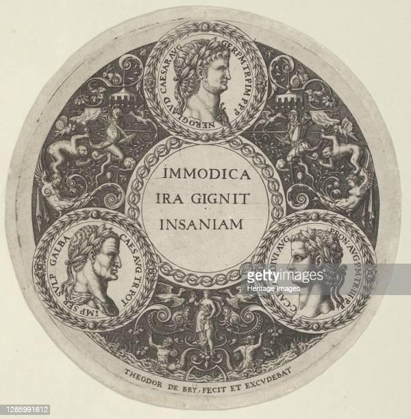 Design for a Dish with Portraits of the Roman Emperors Nero, Galba, and Caligula, circa 1588. Artist Theodore de Bry.