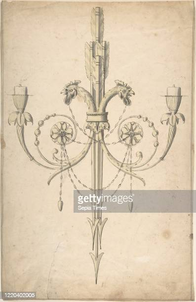 Design for a Girandole Composed of Three Clasping Arrows and Candlebranches Terminating in Cockerel Heads 174397 Pen and wash sheet 15 15/16 x 10 1/2...