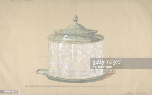 Design for a Glass Box with a Silver Base and Cover 182065 Artist George Richards Elkington