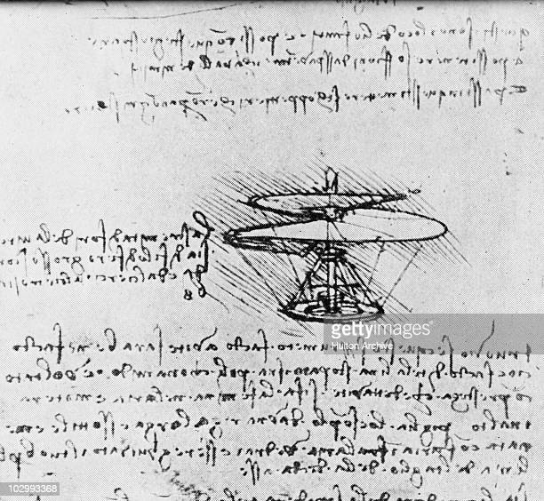 A design for a 'helical air screw' a helicoptertype flying machine from the notebooks of Italian polymath Leonardo da Vinci 1480 Leonardo wrote in a...