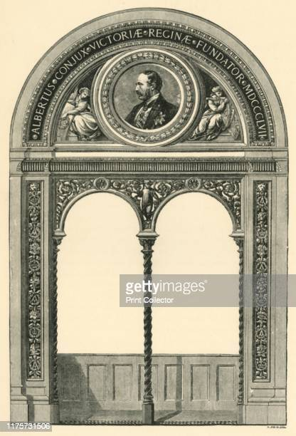 Design for a lunette with portrait of Prince Albert circa 1863 Decorative double arch and screen surmounted by a mosaic portrait of Albert Prince...