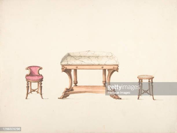 Design for a Marble Topped Table and a Lowbacked Chair and a Stool early 19th century Artist Anon