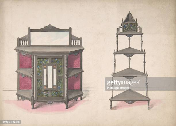 Design for a Mirrored Cabinet and a Set of Corner Shelves, 19th century. Artist Anon.