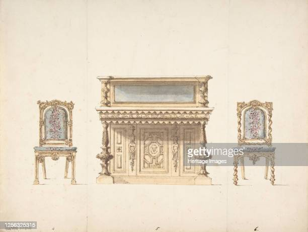 Design for a Mirrored Cabinet and Two Chairs early 19th century Artist Anon