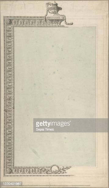 Design for a Pierglass of Tall Oblong Form the Border a Palmette Frieze the Termination an Urn 17401800 Pen and ink and watercolor sheet 15 1/2 x 9...