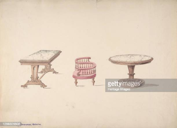 Design for a Rectangular and Round Marbletopped Tables and a Têteà Tête Chair early 19th century Artist Anon