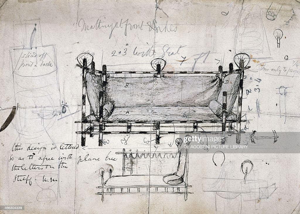 Design for a sofa drawing by Dante Gabriel Rossetti ...