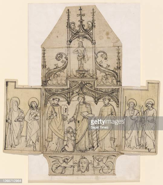 Design for a winged altar, around 1500, feather and brush in dark brown, over black chalk , inside of the altar in places yellowish washed, center...