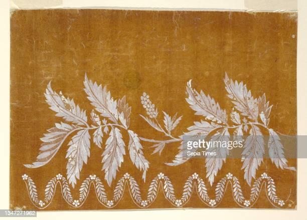 Design for an Embroidered or Woven Horizontal Border of the 'Fabrique de St. Ruf', Fabrique de Saint Ruf, Lyon, France, Brush and white gouache on...