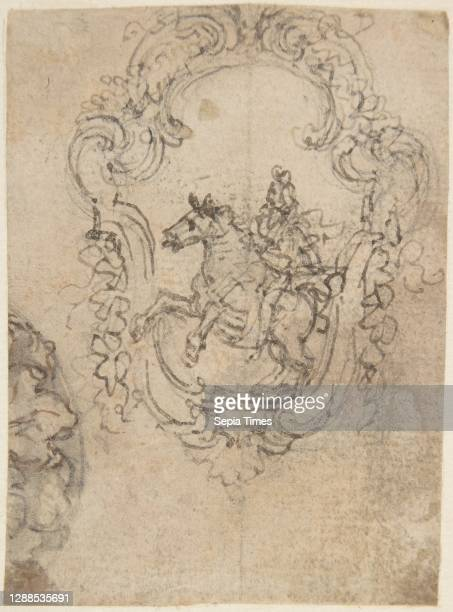 Design for an Equestrian Statue in a Cartouche ; Sketches for a Frieze with Sea-Shells and Floral Ornament ., 1652–1725, Pen and brown ink, over...