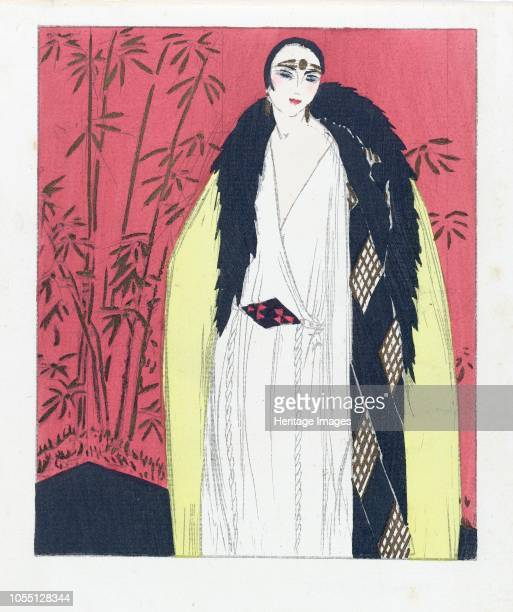 Design for an Evening dress with Fur Trimmed Cape, pub. 1924 . Artist French School .