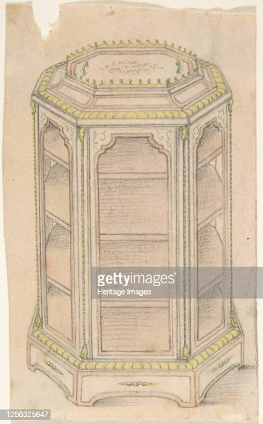 Design for an Octagonal Cabinet with Glass Doors and Shelves 19th century Artist Anon