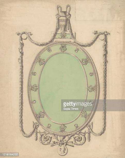 Design for an Oval Mirror Surmounted by an Urn and Draped with Neoclassic Swags 174096 Pen gray ink gray and green wash sheet 18 1/2 x 14 7/8 in Sir...