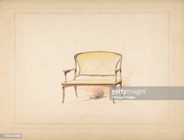 Design for Art Nouveau Loveseat with Caning 19th century Artist Anon