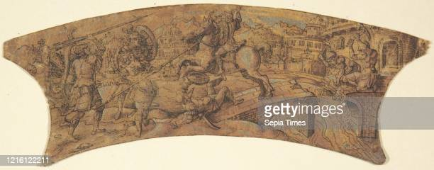 Design for Border of a Shield, 19th century, Pen and black ink, brush and yellow and gray gouache on paper prepared with orange. 1 7/8 x 6 in. ,...