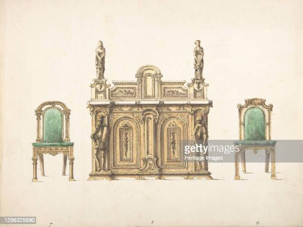 Design for Cabinet Ornamented with Carved Knights and Ladies and Two Chairs early 19th century Artist Anon