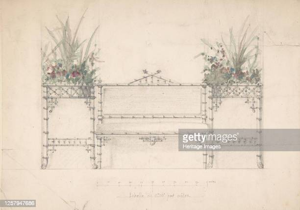 Design for Chinois Bench and Planters 19th century Artist Anon